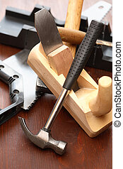 Carpenter Tools Set - Set of carpenter tools on wooden...