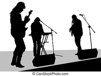 Rock and roll - Concert of rock band on a white background