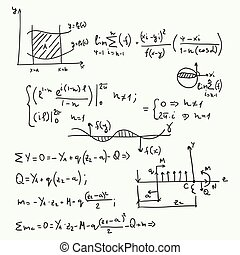 Pattern with mathematical formulas, calculations, graphs,...