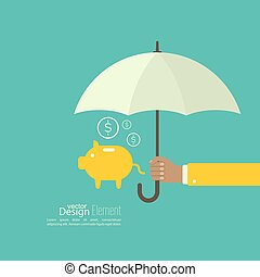 Male hand holding an umbrella Protection of money, personal...