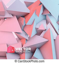 Abstract background with rose quartz and serenity pyramids -...