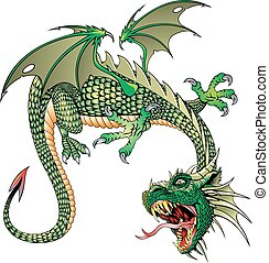 chinese green dragon isolated on the white background
