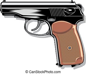 modern hand gun pistol isolated on the white background