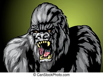 ugly gorila monkey isolated on the dark background