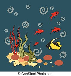 Underwater plants and fish, vector illustration