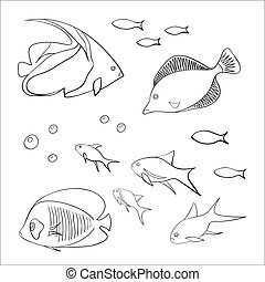 Set of cute fishes
