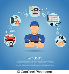 Car Service Concept for Poster, Web Site, Advertising with...