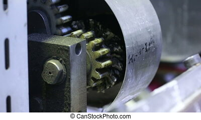 spinning gear mechanism - spinning gear of the conveyor...