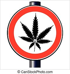 Weed - A road traffic sign declaring ' weed', isolated on...