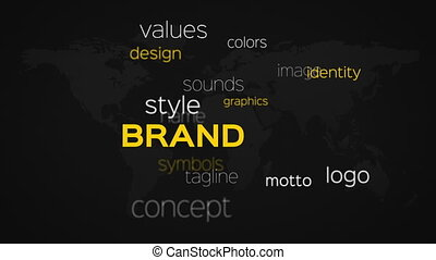 Array of Brand Words Black Map