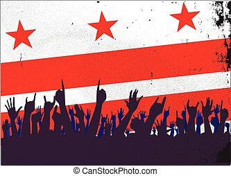 Washington DC Flag with Audience - Audience happy reaction...