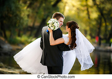 Bride and groom are a romantic moment