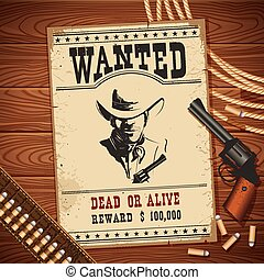 Wanted poster with cowboy objects on wood texture