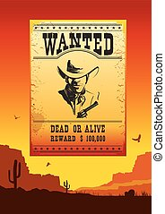 Wanted poster on Wild west american desert landscape -...