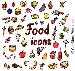 Food icons set - hand drawn design