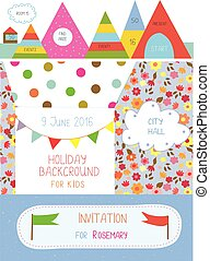 Invitation or banner for kids holiday - cute design