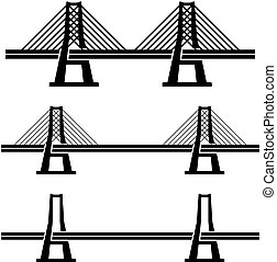 modern cable suspension bridge black symbol - illustration...