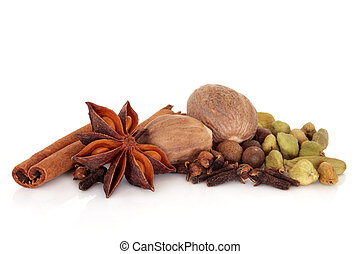 Spice Selection - Spice selection of cinnamon, cloves, star...