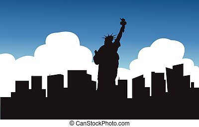 Silhouette of statue liberty blue sky wth cloud