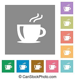 Cappuccino square flat icons - Cappuccino flat icon set on...