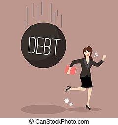 Business woman run away from heavy debt. Business finance...