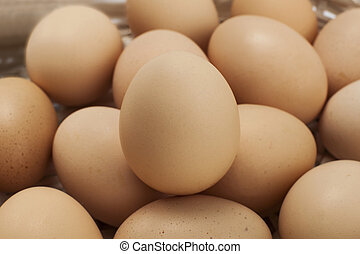 eggs in basket - many eggs within a white- wicker basket