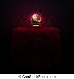 Magic Crystal Ball - Fantasy magic crystal ball on the table...