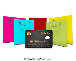 credit card with shopping bags isolated over white - credit...