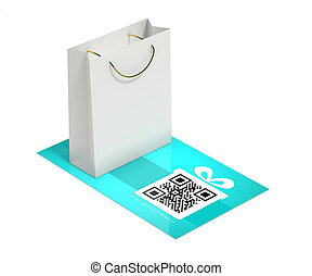 discount card with shopping bag isolated over white -...