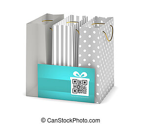 discount card with shopping bags isolated over white -...