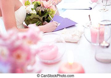 Brides hands wedding the wedding bouquet