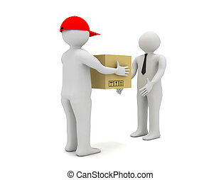 Worker delivering a package to a businessman