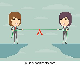 tug of war, business concept - Business people pull the rope...