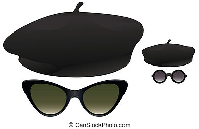 Beret sunglasses - Black berets with cat eye and round...