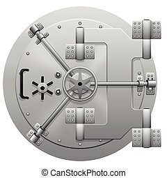 Vector metallic bank vault door isolated on white...