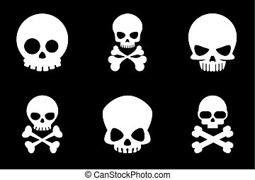 Skull and crossbones icons in cartoon style Bone and skull,...