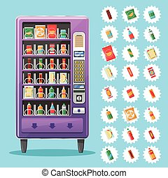 Vending machine with snacks and drinks Vector illustration -...