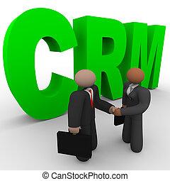 CRM, -, empresa / negocio, gente, apretón de manos