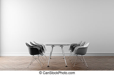 Meeting room with a large white wall in the background. 3D illustration