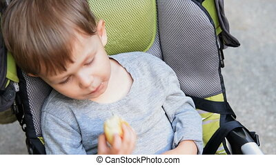 Child in baby stroller eating a bun - Little cute boy...