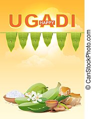 Happy Ugadi Template greeting card for holiday Ugadi...