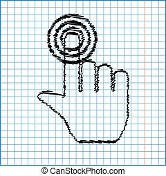 Hand icon with pen effect on paper