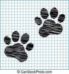 Animal Tracks with pen effect on paper