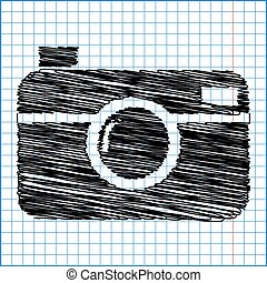 digital photo camera icon with pen effect on paper