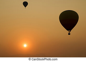ballon - silhouette of the sunset, ballon in the evening