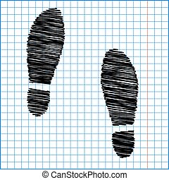 Imprint soles shoes icon with pen effect on paper