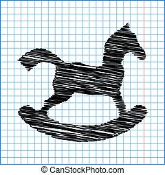 Horse toy icon with pen effect on paper