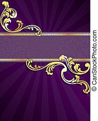 púrpura, oro, vertical, bandera