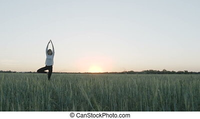 Yoga vrikshasana tree pose by woman in field - Yoga...