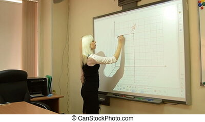 Student or teacher using interactive whiteboard - Young...